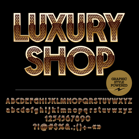 Golden border and pattern chic logotype for luxury shop. Vector set of alphabet letters, numbers and punctuation symbols Illusztráció