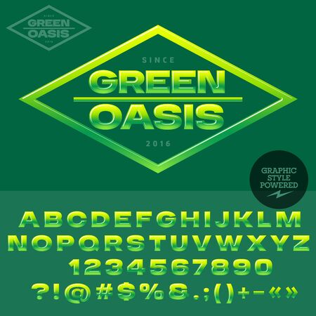 ecologic: Green and yellow glossy logotype for organic and ecologic shop or club. Vector set of alphabet letters, numbers and punctuation symbols