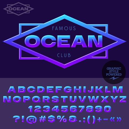 紫と青光沢のあるエンブレムのヨットクラブのため。アルファベット、数字、句読点記号のベクトルを設定  イラスト・ベクター素材