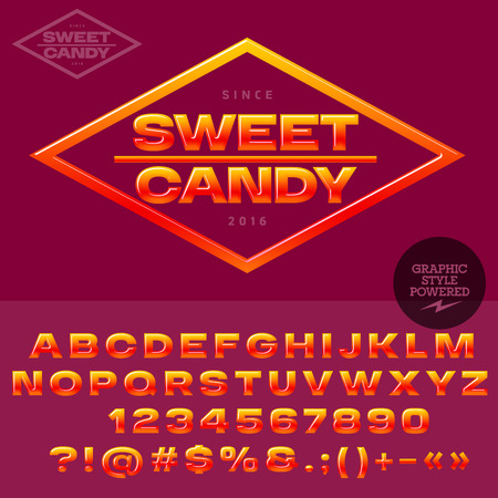 candy store: Pink and yellow glossy logo for candy and sweet store. Vector set of alphabet letters, numbers and punctuation symbols