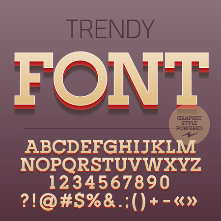 Modern styled 3D trendy set of alphabet letters, numbers and punctuation symbols with shadow