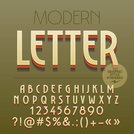 Retro styled 3D Art Deco set of alphabet letters, numbers and punctuation symbols with shadow Иллюстрация