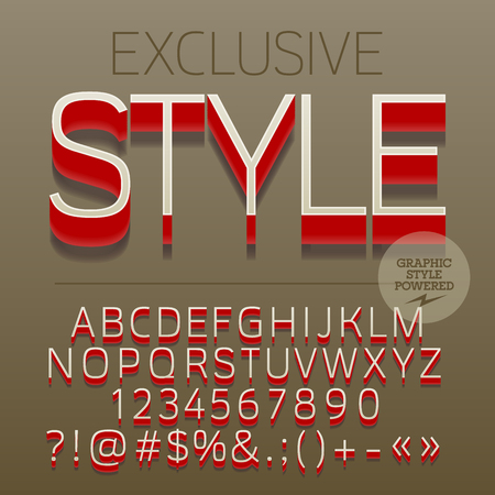 Modern styled 3D exclusive set of alphabet letters, numbers and punctuation symbols with shadow