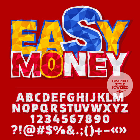 easy money: Vector colorful crumpled paper alphabet letters, numbers and punctuation symbols. Bright sign with text Easy money Illustration