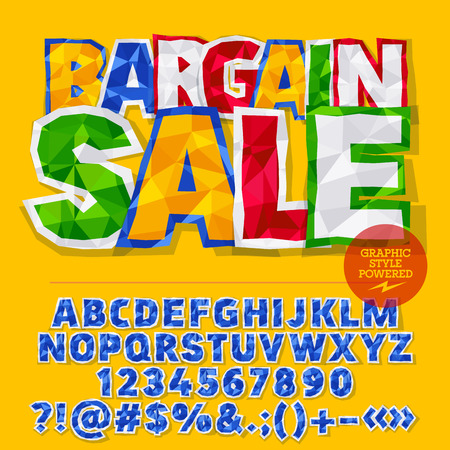 Vector colorful crumpled paper alphabet letters, numbers and punctuation symbols. Bright label with text Bargain sale