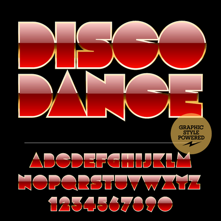 golden symbols: Retro styled set of red and golden alphabet letters, numbers and punctuation symbols. Vector logotype with text Disco dance
