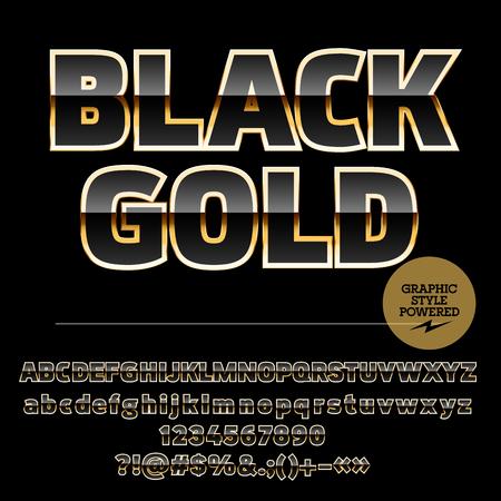splendid: Splendid set of black and golden alphabet letters, numbers and punctuation symbols.Vector emblem with text Black gold