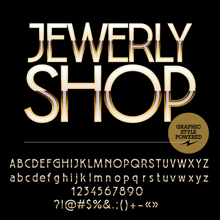 jewerly: Elite set of silver and golden alphabet letters, numbers and punctuation symbols. Vector logotype with text Jewerly shop Illustration