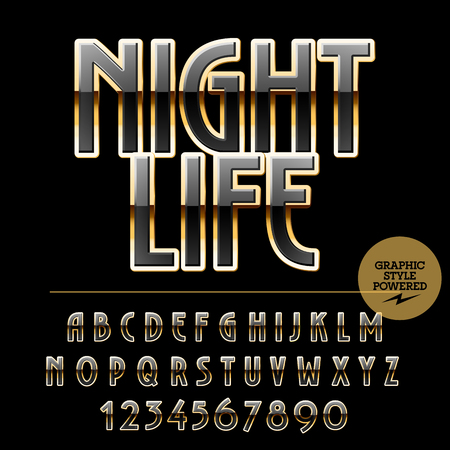 night life: Elegant set of black and golden alphabet letters, numbers and punctuation symbols. Vector logotype with text Night life