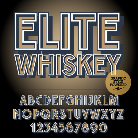 scotch: Retro styled set of alphabet letters, numbers and punctuation symbols. Vintage label with text Elite whiskey
