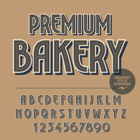 elite: Retro styled set of alphabet letters, numbers and punctuation symbols. Vintage banner with text Premium bakery