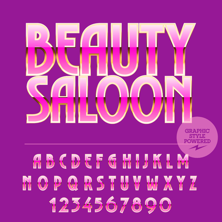 set symbols: Glamour set of pink and gold alphabet letters, numbers and punctuation symbols. Vector logo with text Beauty saloon