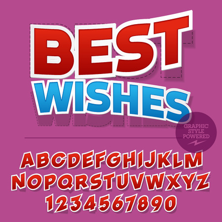 Nice sticker styled set of alphabet letters, numbers and punctuation symbols. greeting card with text Best wishes