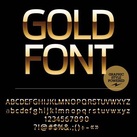 golden symbols: Royal golden set of alphabet letters, numbers and punctuation symbols Illustration