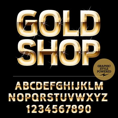 Königlichen goldenen Satz Alphabet Buchstaben, Zahlen und Satzzeichen Standard-Bild - 57933658