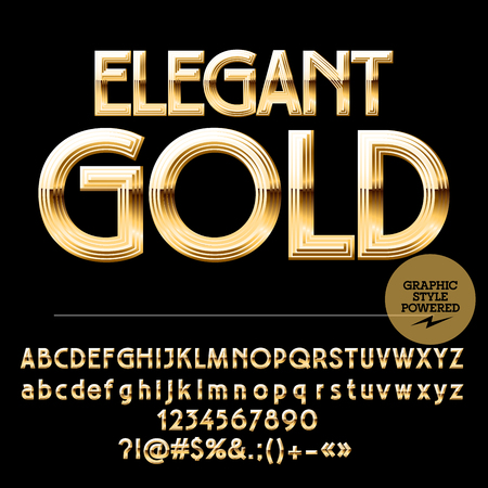 Königlichen goldenen Satz Alphabet Buchstaben, Zahlen und Satzzeichen. Standard-Bild - 57933660