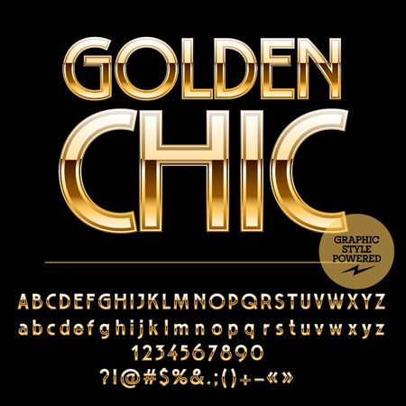 Royal golden set of alphabet letters, numbers and punctuation symbols.