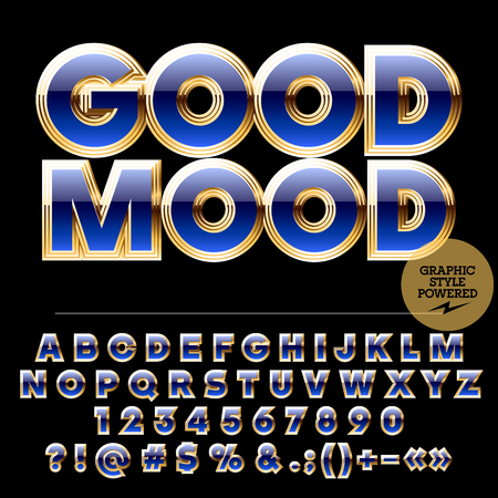 golden symbols: Royal golden and blue set of alphabet letters, numbers and punctuation symbols