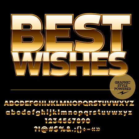 best quality: Royal golden set of alphabet letters, numbers and punctuation symbols.