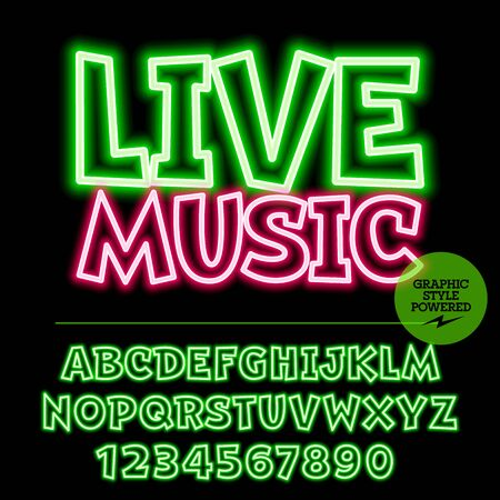 live entertainment: Neon bright set of alphabet letters, numbers and punctuation symbols. light up colorful emblem with text Live music