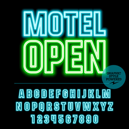guest house: Neon bright set of alphabet letters, numbers and punctuation symbols. light up colorful sign with text Motel open Illustration