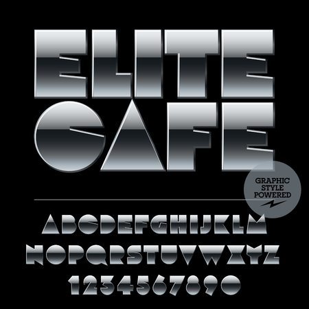 elite: Vector set of alphabet letters, numbers and punctuation symbols. Silver logotype with text Elite cafe