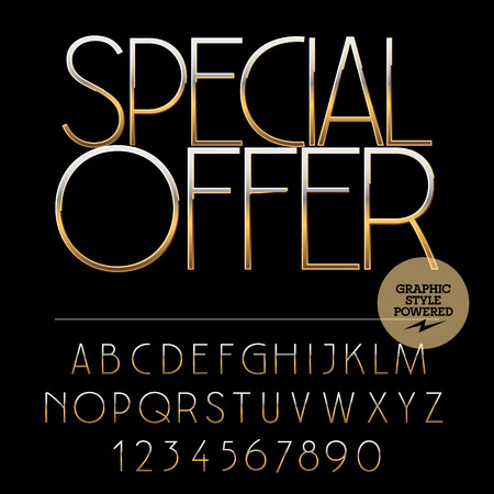 Vector set of alphabet letters, numbers and punctuation symbols. Gold label with text Special offer