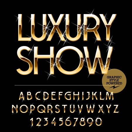 Vector set of alphabet letters, numbers and punctuation symbols. Gold emblem with text Luxury show Illustration