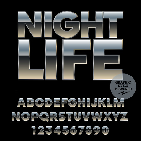 night life: Vector set of alphabet letters, numbers and punctuation symbols. Silver poster with text Night life