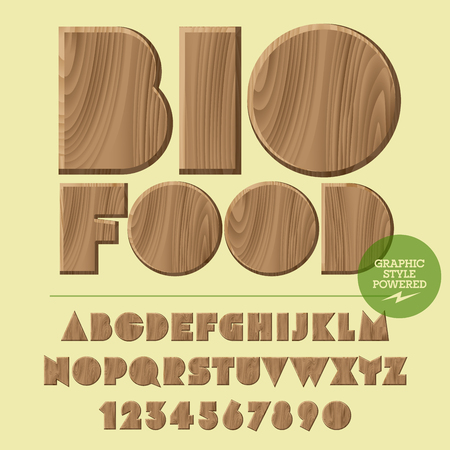 Vector set of alphabet letters, numbers and punctuation symbols. Wooden with text Bio food