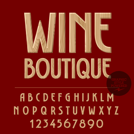 Vector set of alphabet letters, numbers and punctuation symbols. Wood emblem with text Wine boutique 矢量图像