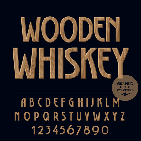 Vector set of alphabet letters, numbers and punctuation symbols. Label with text Wooden whiskey 版權商用圖片 - 60238466