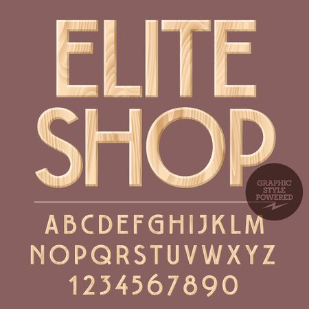 Vector set of alphabet letters, numbers and punctuation symbols. Wooden sign with text Elite shop