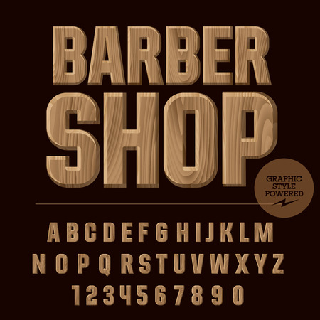 Vector set of alphabet letters, numbers and punctuation symbols. Wood emblem with text Barber shop 向量圖像