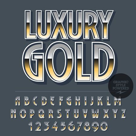Glossy set of alphabet letters, numbers and punctuation symbols. Reflective vector with text Luxury gold Illustration