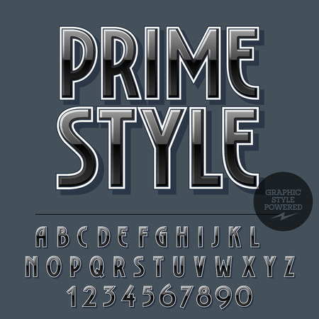 Glossy set of alphabet letters, numbers and punctuation symbols. Reflective vector emblem with text Prime style 일러스트
