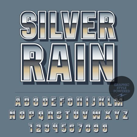 elite: Glossy set of alphabet letters, numbers and punctuation symbols. Reflective vector emblem with text Silver rain