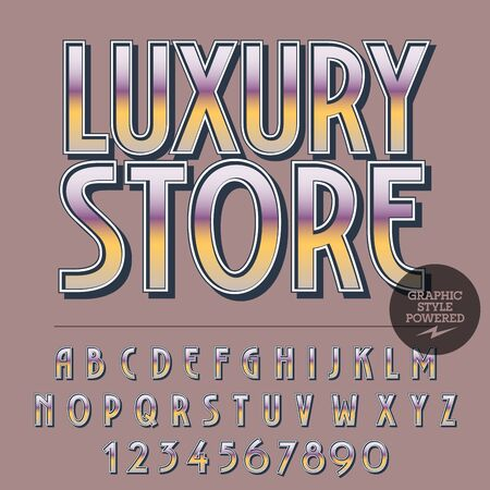 Glossy set of alphabet letters, numbers and punctuation symbols. Reflective vector with text Luxury store