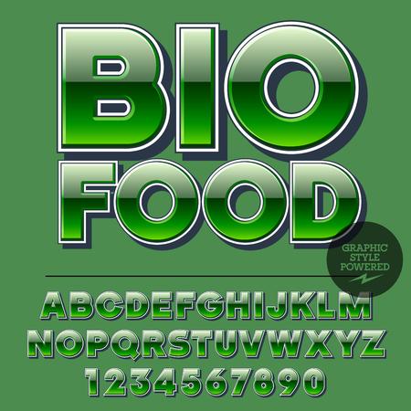 アルファベット、数字および句読点の光沢のあるセットです。反射ベクトル本文バイオ食品