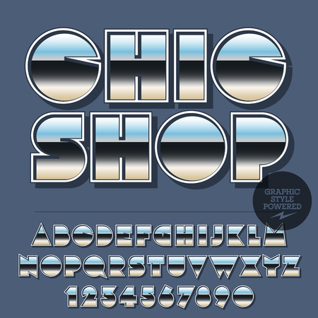 Glossy set of alphabet letters, numbers and punctuation symbols. Reflective vector with text Chic shop