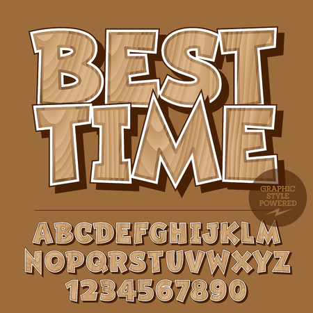 Vector set di lettere dell'alfabeto, numeri e simboli di punteggiatura. Bandiera di legno con testo Miglior tempo