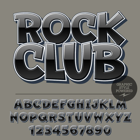 Glossy set of alphabet letters, numbers and punctuation symbols. Reflective vector with text Rock Club Çizim