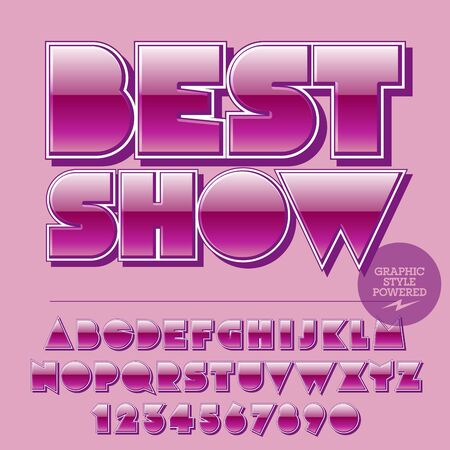 Glossy set of alphabet letters, numbers and punctuation symbols. Reflective vector pink emblem with text Best show Illusztráció