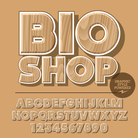 Vector set of alphabet letters, numbers and punctuation symbols. Wooden for ecology activity with text Bio shop. File contains graphic styles