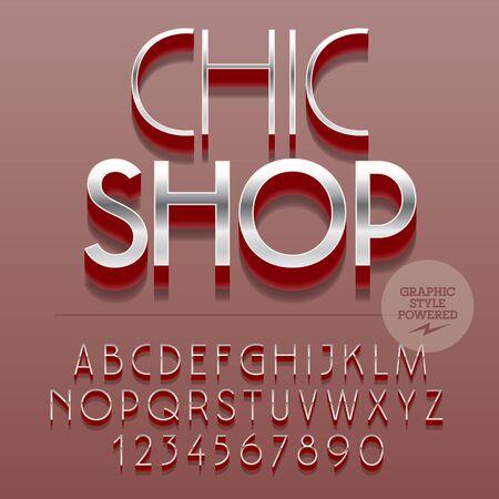 Set of slim reflective alphabet letters, numbers and punctuation symbols. Vector emblem with text Chic shop. File contains graphic styles Illusztráció
