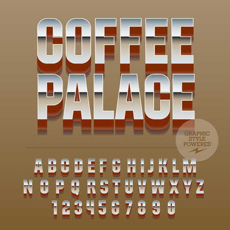 lunchroom: Set of slim reflective alphabet letters, numbers and punctuation symbols. Vector glance with text Coffee palace. File contains graphic styles