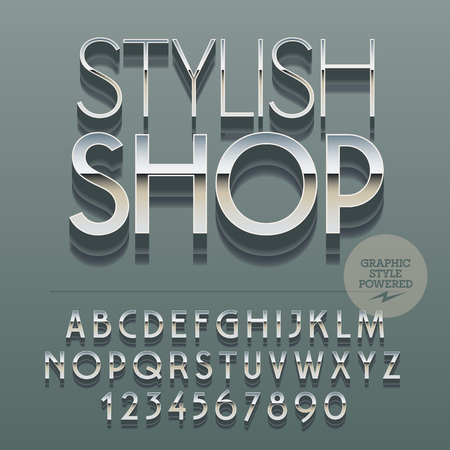 glance: Set of slim reflective alphabet letters, numbers and punctuation symbols. Vector glance emblem with text Stylish shop. File contains graphic styles