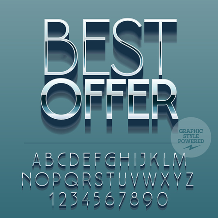 glance: Set of slim reflective alphabet letters, numbers and punctuation symbols. Vector glance promotion banner with text Best offer. File contains graphic styles