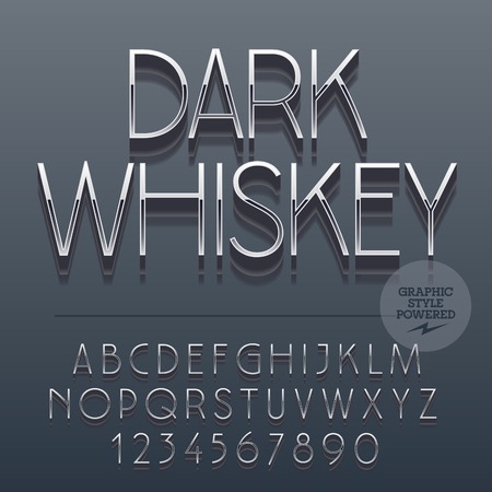 brandy: Set of slim reflective alphabet letters, numbers and punctuation symbols. Vector label with text Dark whiskey. File contains graphic styles