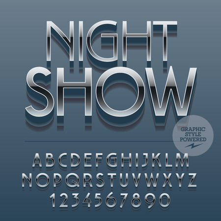 club: Set of slim reflective alphabet letters, numbers and punctuation symbols. Vector icon with text Night show. File contains graphic styles Illustration